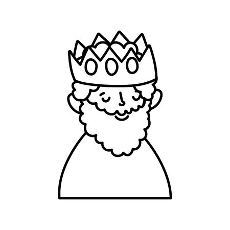 wise king with crown manger nativity, merry christmas vector illustration thick line