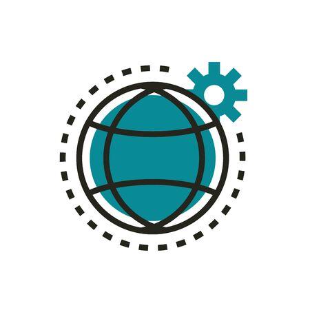 world setting gear web development icon line and fill Ilustracja