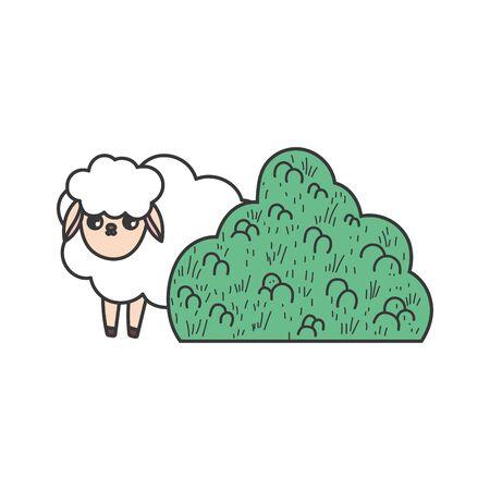 sheep bush nature cartoon design