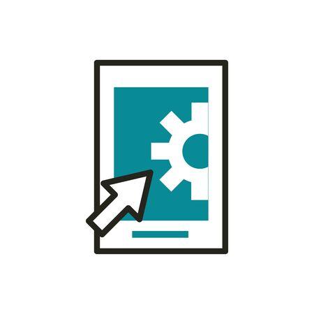smartphone setting click web development icon line and fill  イラスト・ベクター素材