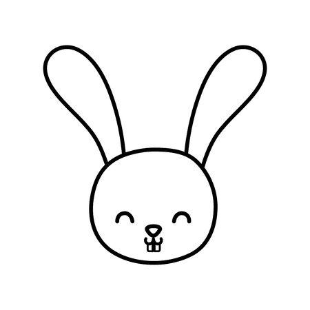 funny cute rabbit little head animal cartoon thick line Ilustracja