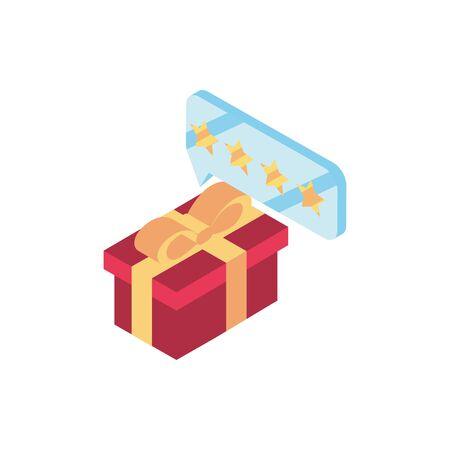 gift box chat order online shopping isometric icon Illusztráció