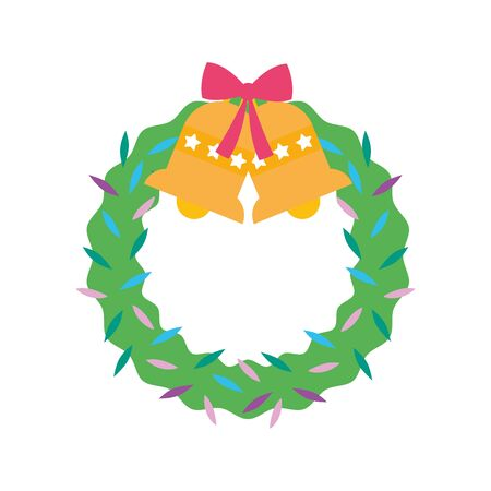 merry christmas celebration wreath bells bow decoration Çizim