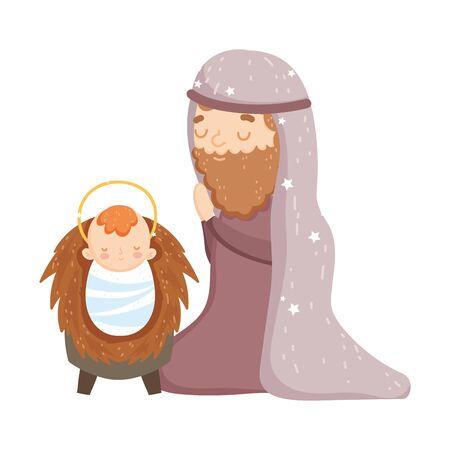 joseph with baby jesus manger nativity, merry christmas