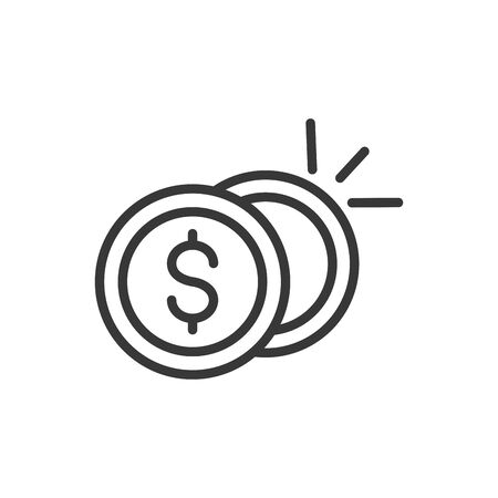coins cash finance bank money icon thick line