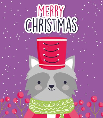 merry christmas celebration cute raccoon with hat and scarf Çizim