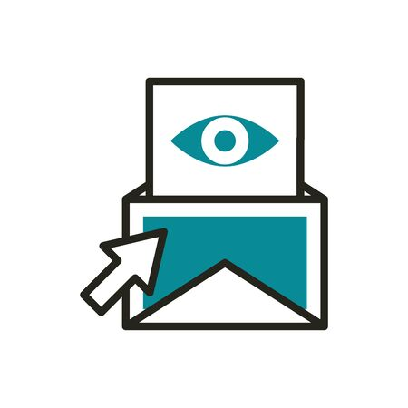 email vision click web development icon line and fill