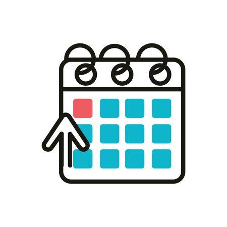 calendar social media icon line and fill