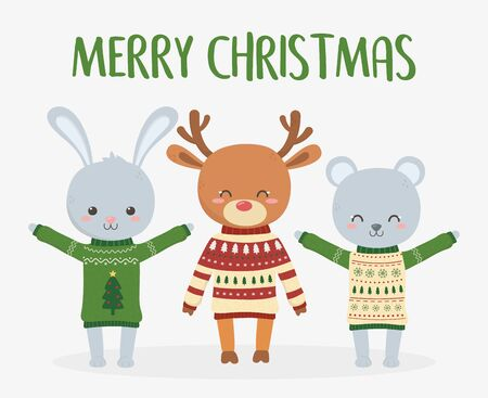 merry christmas celebration cute deer rabbit and bear with ugly sweater