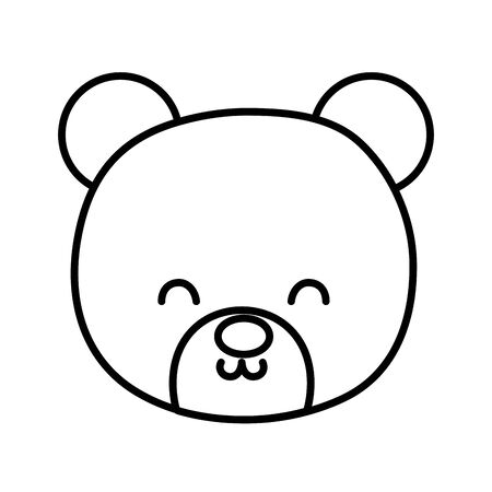 cute bear head toy on white background thick line