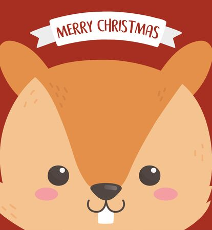merry christmas celebration cute squirrel head cartoon card