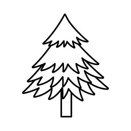 pine tree foliage botanical on white background thick line Ilustracja