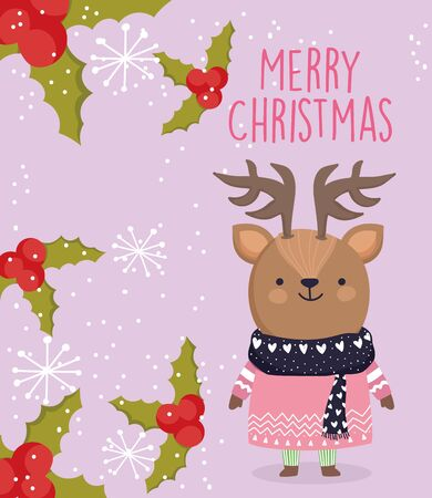 merry christmas celebration cute deer with sweater and scarf