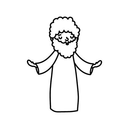 joseph character manger nativity, merry christmas thick line