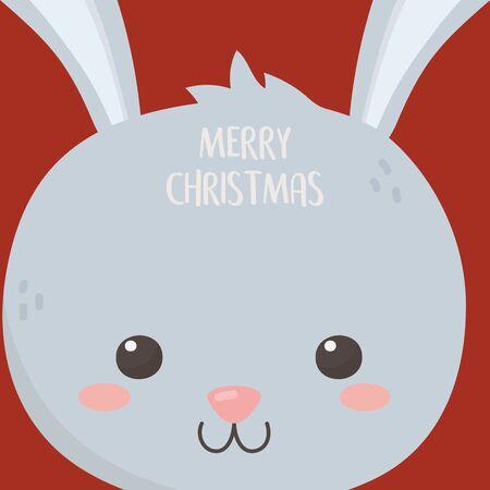 merry christmas celebration cute rabbit head cartoon card Çizim
