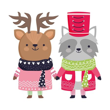 merry christmas celebration raccoon and deer with sweater scarf hat Çizim