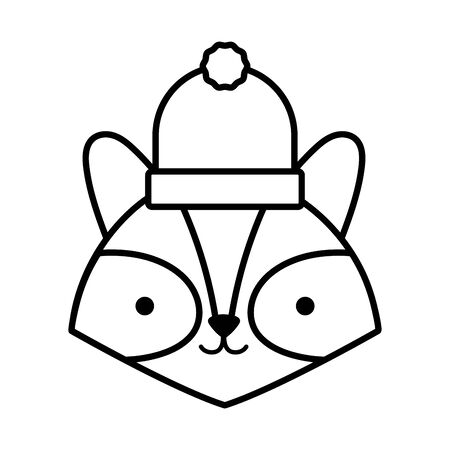 little cute raccoon head with hat cartoon thick line