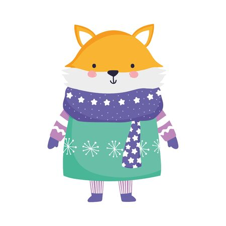 merry christmas celebration cute fox wearing scarf and sweater