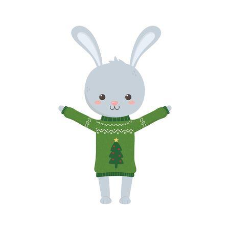 merry christmas celebration cute rabbit ugly sweater decoration