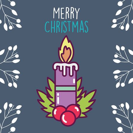 merry christmas celebration burning candle holly berry branches Çizim