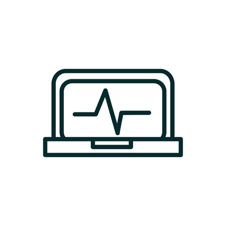 laptop heartbeat equipment medical icon line