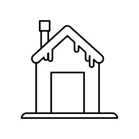 house with chimney and snow design thick line Ilustracja