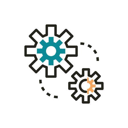 settings web development icon line and fill  イラスト・ベクター素材