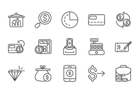 finance bank money icons set thick line