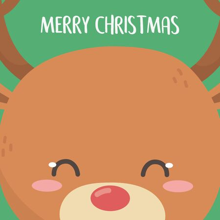 merry christmas celebration cute reindeer head cartoon card