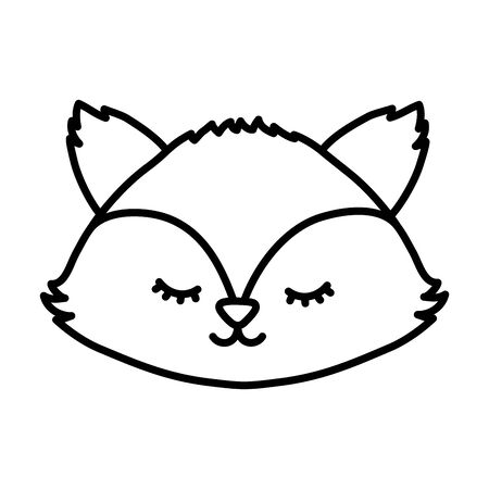 cute fox head autumn on white background thick line Ilustração