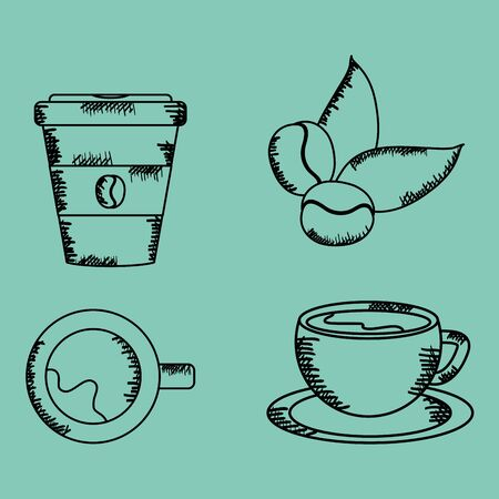 coffee time set icons drawing