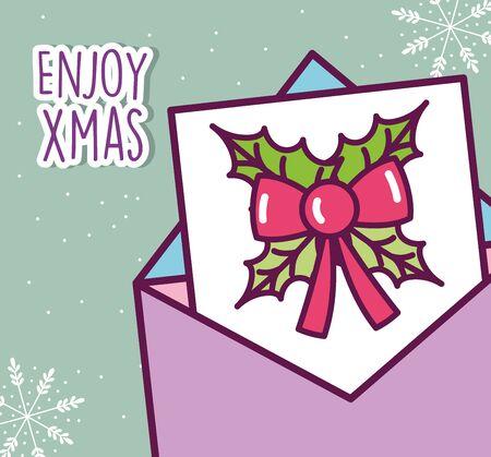 merry christmas celebration envelope message bow decoration