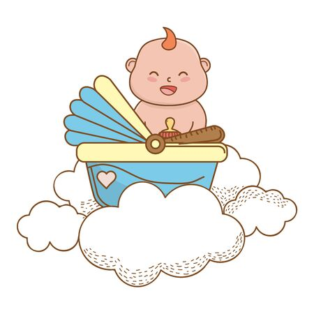 baby shower happy baby in basket holding bottle between clouds cartoon card isolated vector illustration graphic design Ilustrace