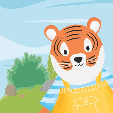 cute tiger with overalls and striped shirt fantasy fairy tale vector illustration 일러스트