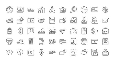 finance bank money icons set thick line vector illustration