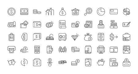 Finanzen Bank Geld Icons Set dicke Linie Vektor-Illustration