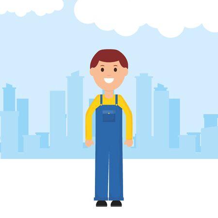 builder worker avatar character vector illustration design