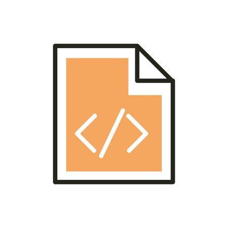coding web development icon vector illustration line and fill