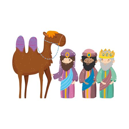 three wise kings and camel manger nativity, merry christmas vector illustration 스톡 콘텐츠 - 133720576