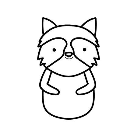 cute raccoon animal cartoon on white background thick line