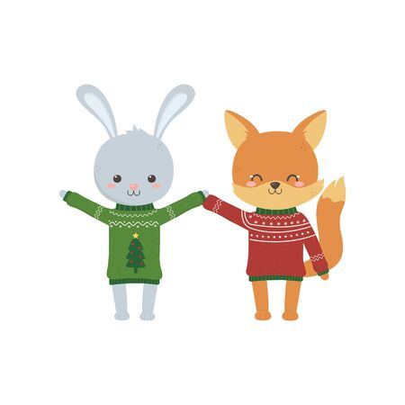 merry christmas celebration cute rabbit and fox with sweater decoration