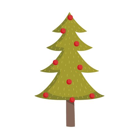 merry christmas decorative tree red balls ornament Çizim