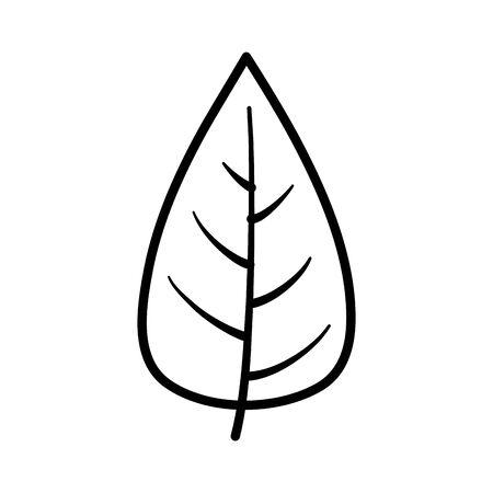 leaf nature foliage on white background thick line Ilustracja