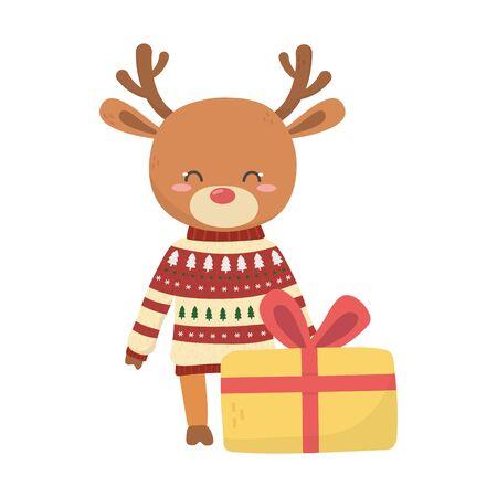 merry christmas celebration cute reindeer with sweater gift Illusztráció