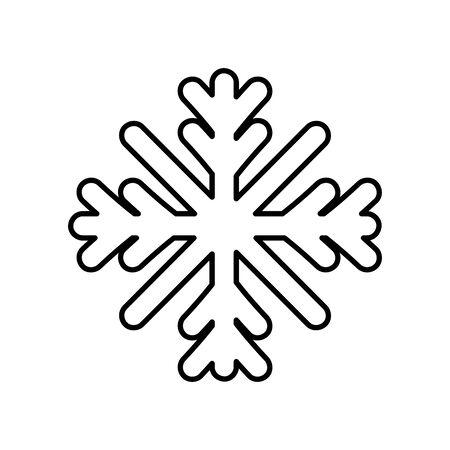 merry christmas celebration snowflake decoration ornament thick line Ilustracja