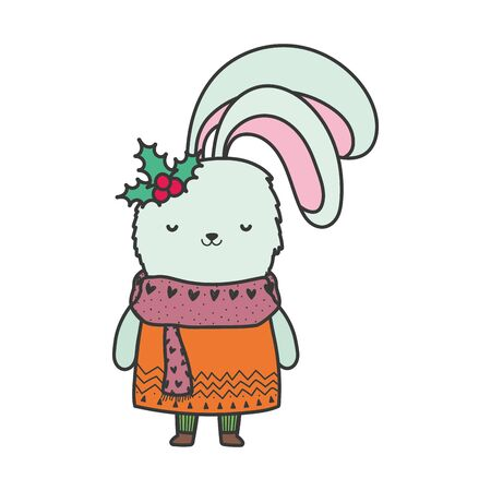 merry christmas celebration cute rabbit with scarf and holly berry