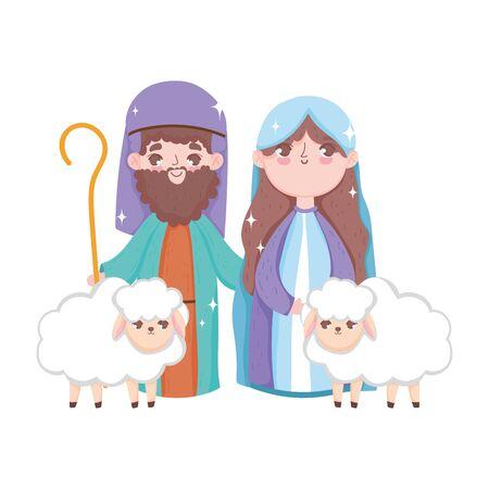 mary joseph with sheeps manger nativity, merry christmas Ilustrace