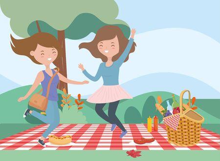 happy women picnic blanket food nature outdoor