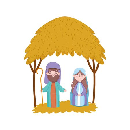 joseph and mary hut desert manger nativity, merry christmas