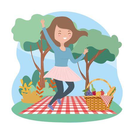 jumping woman on blanket basket food picnic nature Ilustrace